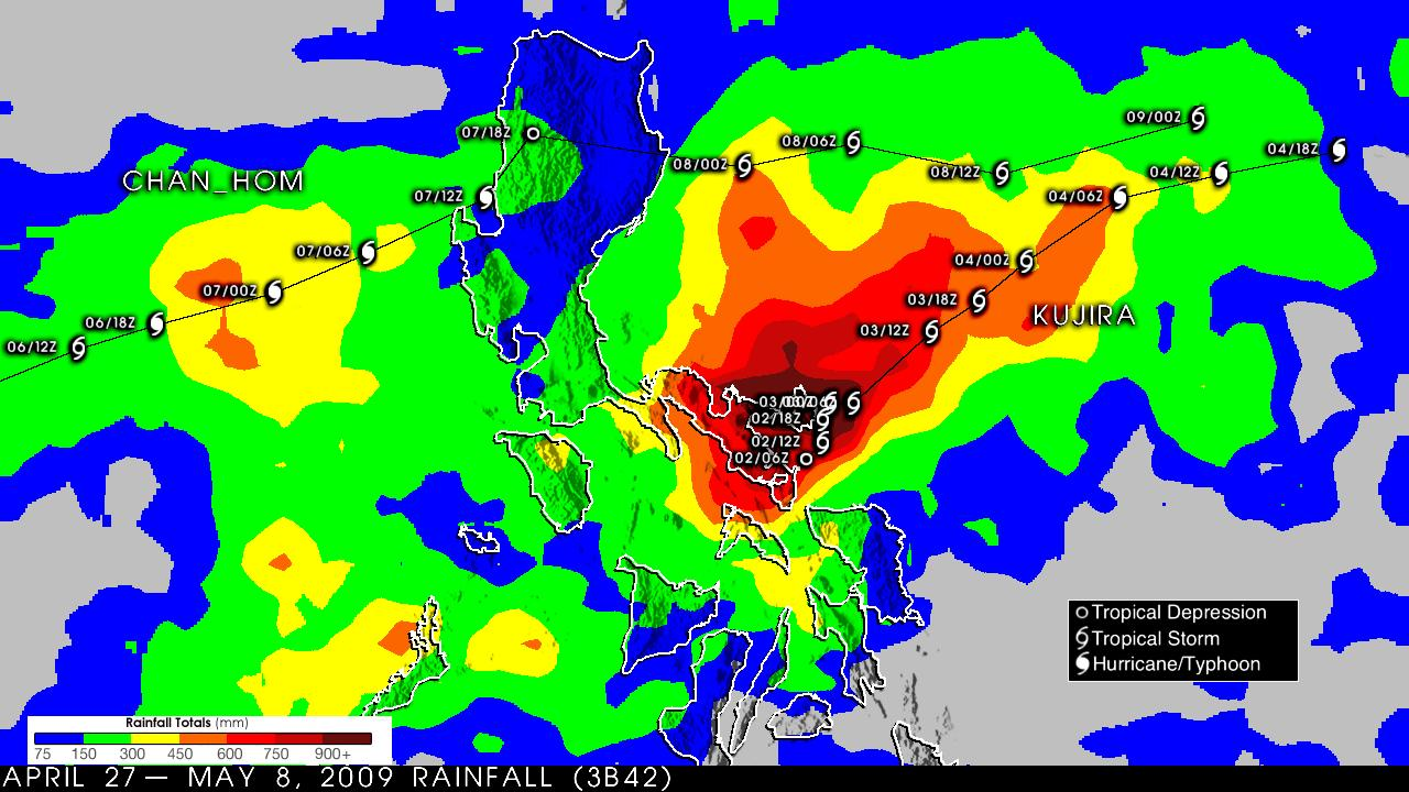Catanduanes rainfall chart for the period 24 April to 8 May 2009